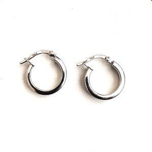 14K White Gold Vintage Huggie Hoop Earrings